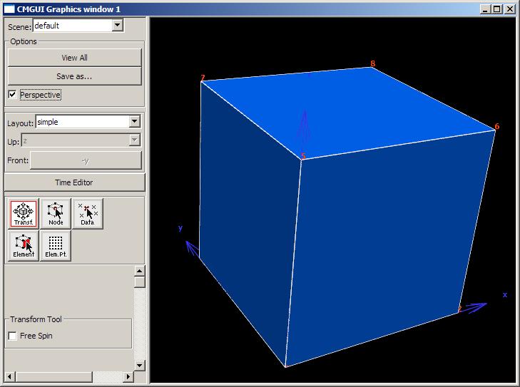 The CMGUI graphics window