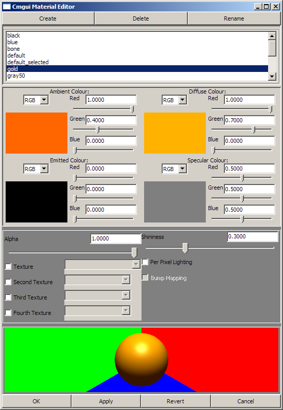 The CMGUI graphical material editor window
