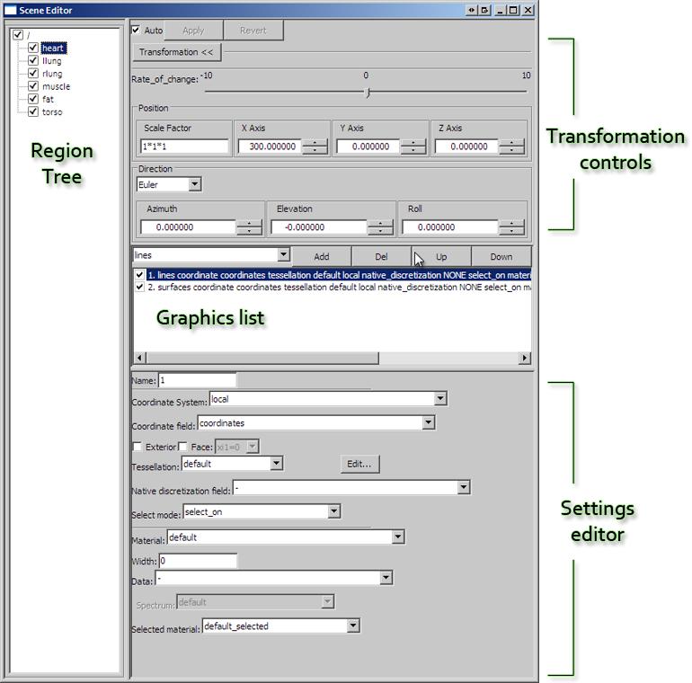 The CMGUI scene editor window